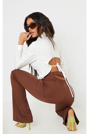 PrettyLittleThing Women Long sleeves - Poplin Backless Tie Detail Long Sleeve Shirt