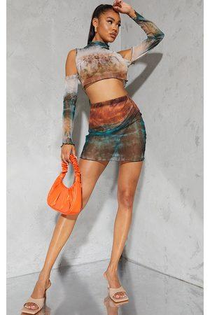 PrettyLittleThing Women Party Dresses - Multi Ombre Mesh Lettuce Hem Mini Skirt