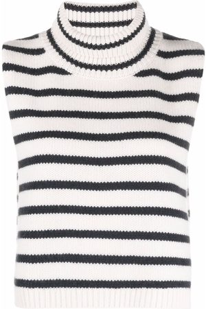 Lisa Yang Striped roll-neck cashmere scarf - Neutrals
