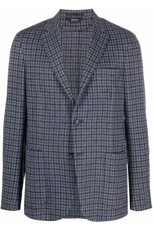 Z Zegna Men Blazers - Check-print buttoned blazer