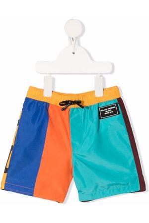 Dolce & Gabbana Kids Colour-block logo-patch swim shorts