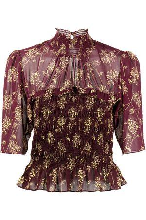 Cinq A Sept Women Blouses - Floral-print semi-sheer blouse