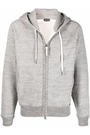 Tom Ford Men Hoodies - Mélange-effect zip-up hoodie - Grey