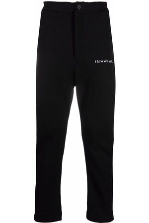 Throwback. Embroidered-logo cotton joggers