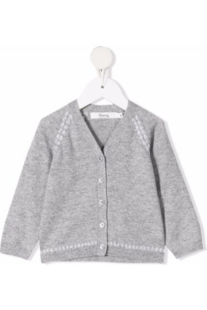 Bonpoint Embroidered fine-knit cardigan - Grey