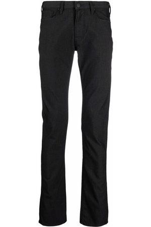 Emporio Armani Logo-plaque slim-cut trousers
