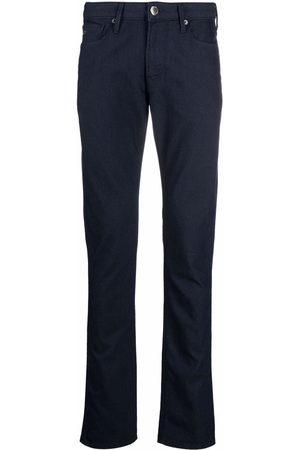 Emporio Armani Logo-plaque straight-leg trousers