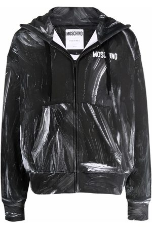 Moschino Painted logo print hoodie