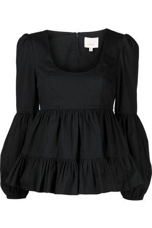 Cinq A Sept Bell-sleeve peplum blouse