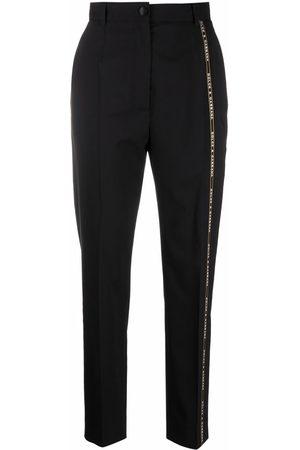 Dolce & Gabbana Logo-trim tapered-leg tailored trousers