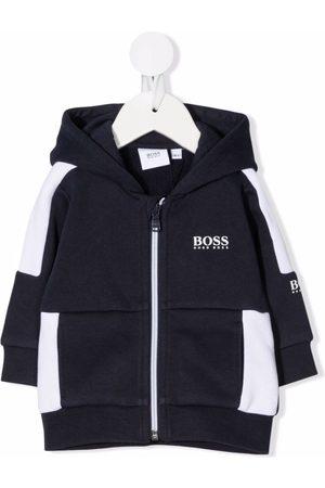 BOSS Kidswear Colour-block zip-front hoodie