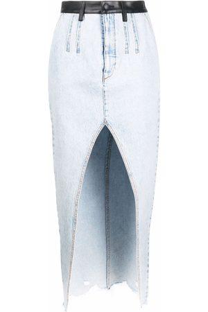 Alexander Wang Leather-trim high-split denim skirt