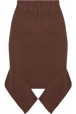 ADAMO Rib-knit asymmetric skirt