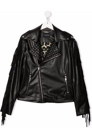 John Richmond Junior TEEN fringed-shoulder biker jacket