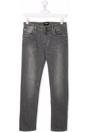 LES HOMMES KIDS TEEN stonewashed straight-leg jeans - Grey