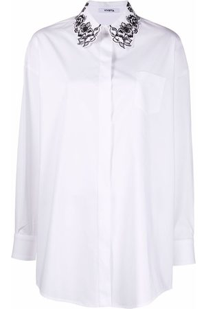 Vivetta Floral-embroidered cotton shirt
