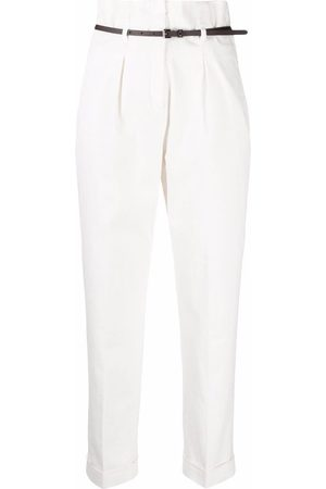 Peserico High-waisted belted tailored trousers