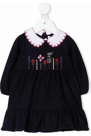 Il Gufo Floral-embroidered flared dress