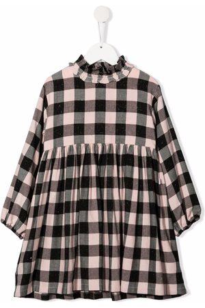 Il gufo Girls Printed Dresses - Gingham check print dress