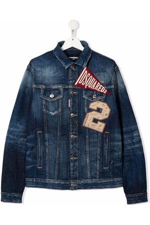 Dsquared2 Bomber Jackets - TEEN logo patch denim jacket