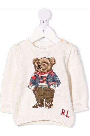 Ralph Lauren Intarsia-knit polo teddy jumper - Neutrals