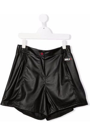 MONNALISA TEEN faux leather A-line shorts