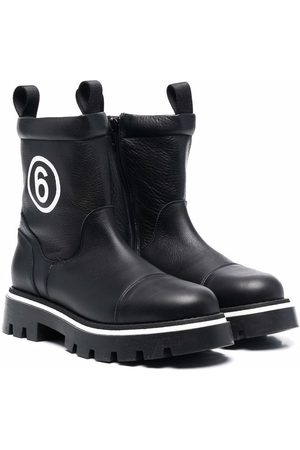 MM6 KIDS TEEN logo-print chunky leather boots