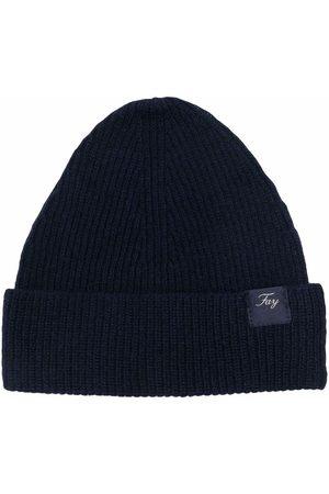 FAY KIDS Ribbed-knit logo-patch beanie