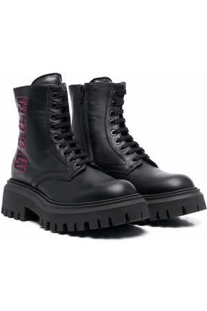 Msgm TEEN logo-embroidered chunky leather boots