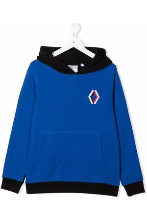 MARCELO BURLON Boys Hoodies - Two-tone logo-embroidered hoodie