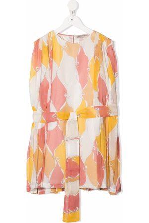 Emilio Pucci Abstract-print tie-waist dress - Neutrals