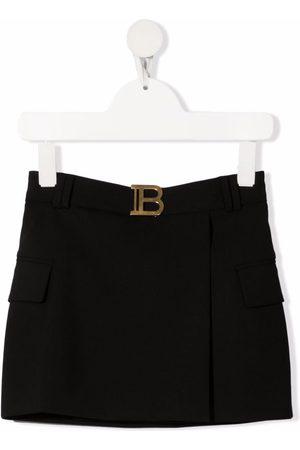 Balmain Logo-plaque wool skirt