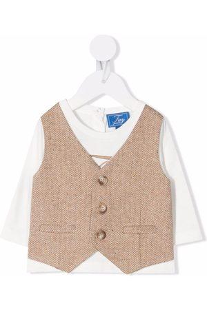 FAY KIDS Herringbone-waistcoat layered top - Neutrals