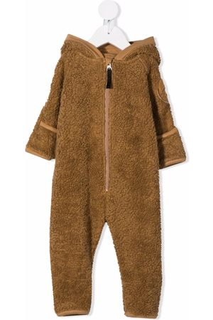 Molo Bodysuits & All-In-Ones - Faux-shearling hooded babygrow - Neutrals