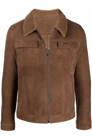 s.w.o.r.d 6.6.44 Shearling-trimmed leather jacket