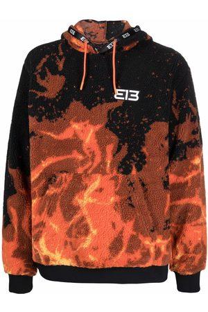 313 WORLDWIDE Flame-print fleece hoodie