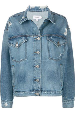 Frame Distressed wide-sleeve denim jacket