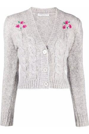 Alessandra Rich Floral embroidery cropped cardigan - Grey