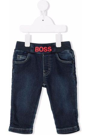 BOSS Kidswear Logo-embroidered stonewash jeans