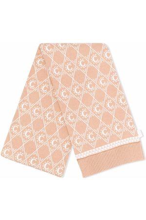 Chloé Kids Intarsia-knit logo scarf - Neutrals