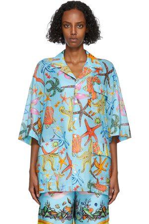 Versace Blue Trésor De La Mer Short Sleeve Shirt