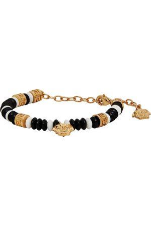 Versace Black & White Beaded Medusa Charm Bracelet