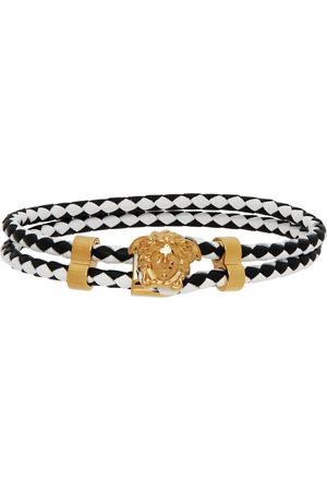 Versace Black & White Leather Medusa Bracelet