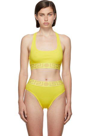 Versace Underwear Yellow Greca Border Sports Bra