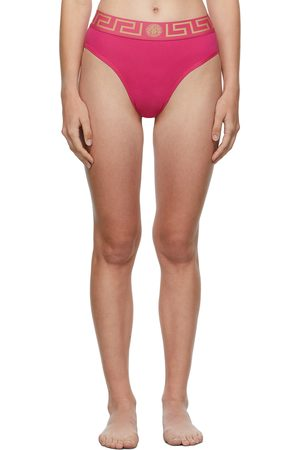 VERSACE Pink Greca Border High-Leg Briefs