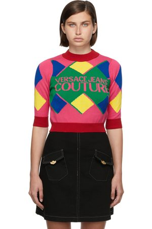 Versace Jeans Couture Women High Necks - Pink & Red Logo Knit Turtleneck