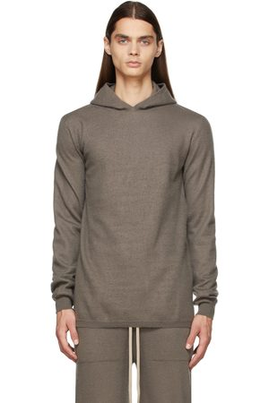 Rick Owens Grey Boiled Cashmere Hoodie