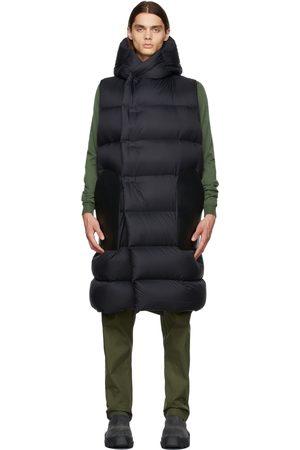 Rick Owens Men Leather Jackets - Black Down & Leather Sleeveless Jacket