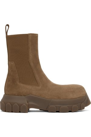 Rick Owens Men Chelsea Boots - Brown Suede Beetle Bozo Tractor Boots