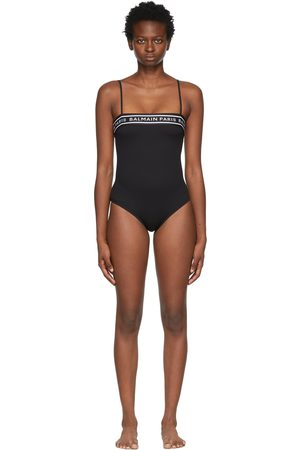 Balmain Women Swimsuits - Black Logo Tape One-Piece Swimsuit